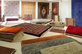 Arabic carpet shop exhibition colorful carpets