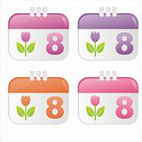 8th of March calendar icons