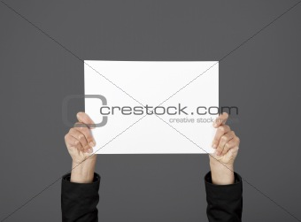 Holding a paper card