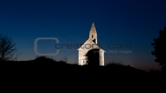 Early Christian church at night
