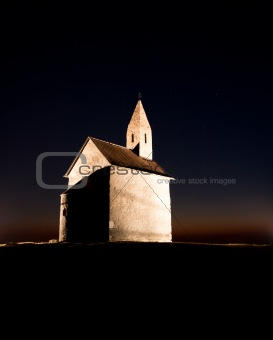 Romanesque church at night