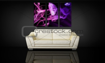 Sofa and decorative canvas panel