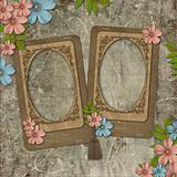 Two frames on vintage background