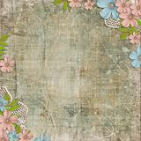 Vintage background with lace and flower composition