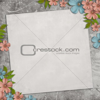 Card for the holiday with flowers on the vintage background