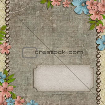 Vintage background with  flower composition and space for text