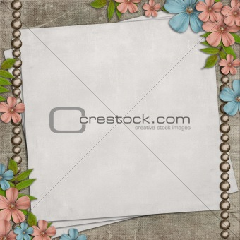Vintage background with old paper  and flower composition.