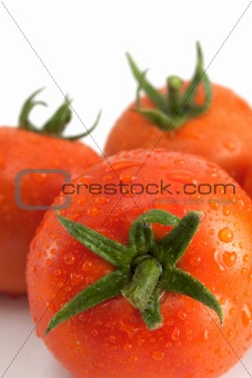Three tomatoes with water drops
