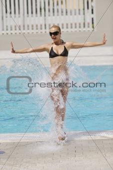 beautiful woman relax on swimming pool