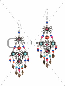 A pair of earrings isolated on white background