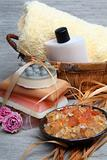 Spa composition: handmade soap, bath salt, moisturizer, towel, o
