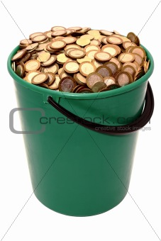 A bucket of coins