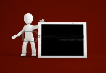 3d cartoon character with white black board
