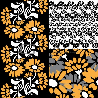 Floral pattern in retro night colors