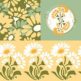 Retro floral wallpaper design