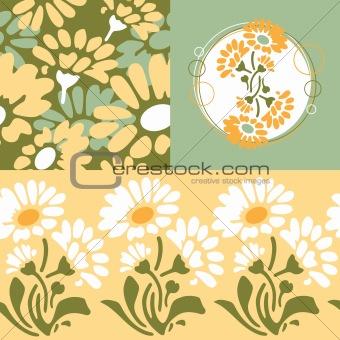 Retro floral wallpaper design