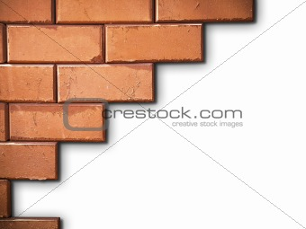 Brick wall on white