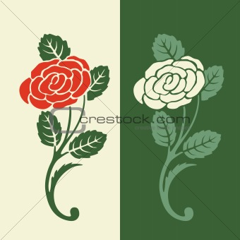 Floral pattern in retro colors. Rose
