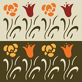 Set of floral vector elements, lily