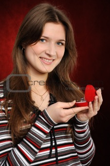woman with a heart gift