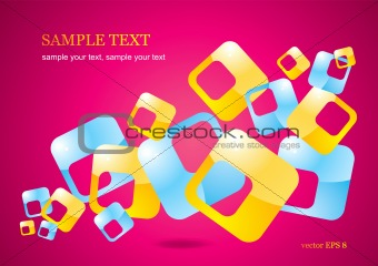 Abstract background of glossy colored squares