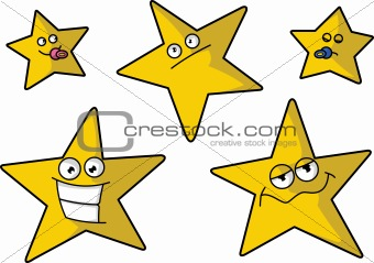 Five cartoon stars