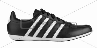 Black sneaker with white strips
