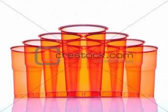 Group of plastic glasses