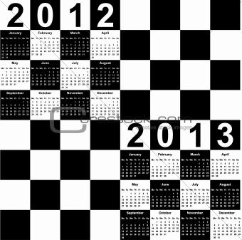 square calendar for 2012 and 2013