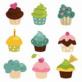 Colorful cupcake set