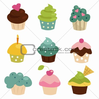 Colorful cupcake set