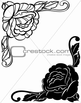 Abstract Floral Decorative Black Frame. Vector
