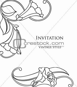Floral Decorative Black Frame. Vector