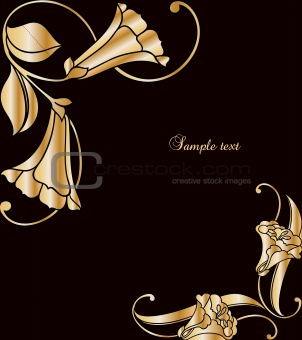 Floral Decorative Black and gold Frame