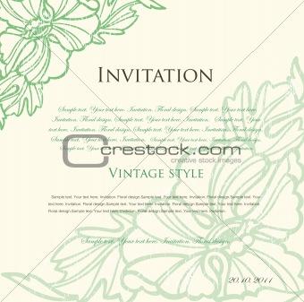 Green floral background for design. Vector
