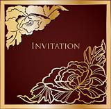Brown And Gold Floral Background. Vector