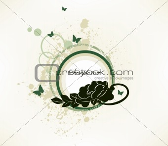 Grunge butterfly and floral green elements. Vector
