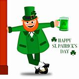 Happy St Patricks Day Leprechaun Drinking Beer