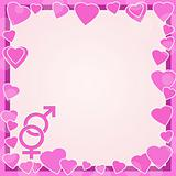 Male and female symbols on background with hearts