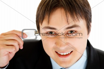 Smiling businessman plugging flash drive into head. Concept - future technologies