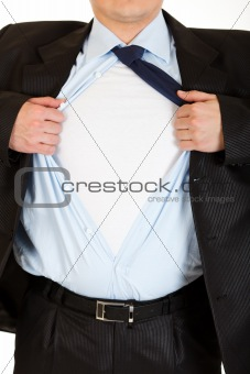 Businessman superman tearing his shirt - add your text. Close-up.