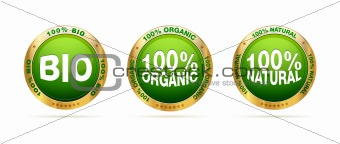 Bio, organic and natural badge set