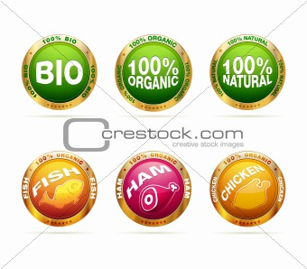 Organic and bio badge set