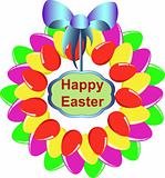 A colorful Easter egg wreath isolated over white