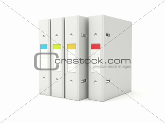Folders with color labels isolated on white