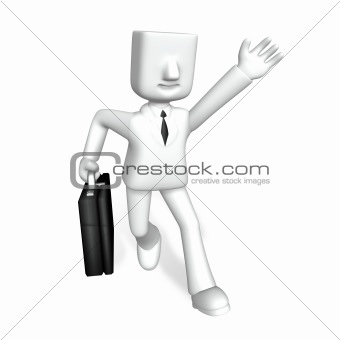 creative 3d business man running