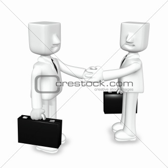 creative 3d business man handshaking