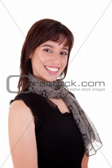 Beautiful Woman Smiling, isolated on white background. Studio shot