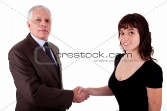 business man handshake a business woman, isolated on white, studio shot