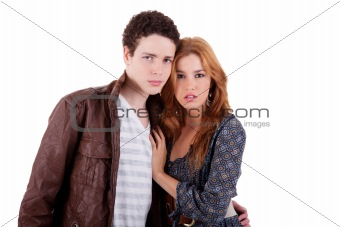 a beauty and cute couple, isolated on white, studio shot